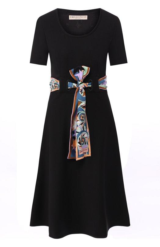 Купить Шерстяное платье с круглым вырезом и контрастным поясом Emilio Pucci, 8RRG30/8R605, Италия, Черный, Шерсть: 98%; Эластан: 2%;