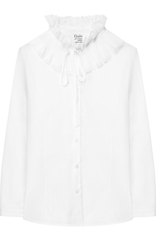 Купить Хлопковая блуза с декоративным воротником Aletta, AC8493AML/9A-16A, Италия, Белый, Хлопок: 97%; Эластан: 3%;