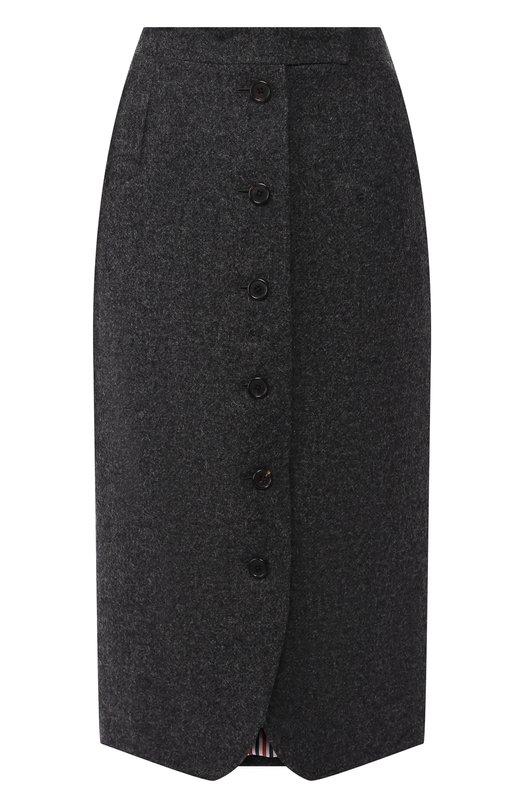 Купить Шерстяная юбка-миди на пуговицах Thom Browne, FGC508A-03793 035, Италия, Серый, Шерсть: 100%;