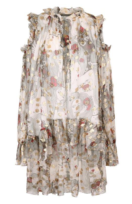Шелковое мини-платье с оборками и принтом Alexander McQueen, 530081/QLG02, Италия, Разноцветный, Шелк: 85%; Полиэстер: 15%;  - купить