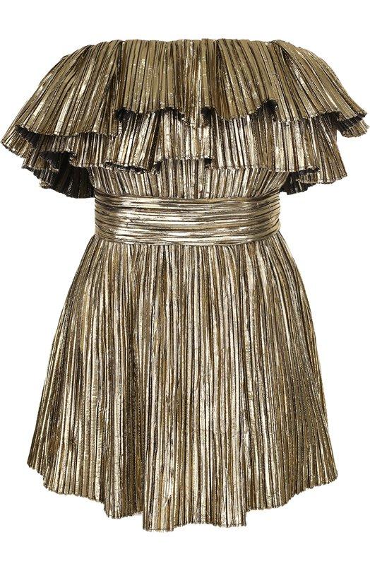 Купить Приталенное мини-платье с оборками Saint Laurent, 529356/Y1080, Франция, Золотой, Полиэстер: 100%;