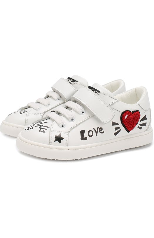 Купить Кожаные кеды на шнуровке с застежкой велькро Dolce & Gabbana, DN0093/A1172/19-28, Италия, Белый, Подошва-резина: 100%; Подкладка-кожа: 100%; Кожа: 100%;