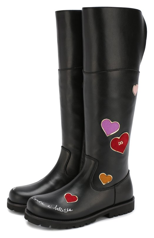 Купить Кожаные ботфорты с отделкой Dolce & Gabbana, D10615/AV540/37-39, Италия, Черный, Подошва-резина: 100%; Подкладка-мех натуральный: 100%; Кожа: 100%;