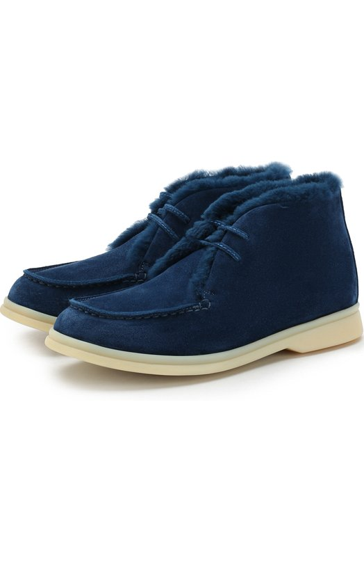 Купить Замшевые ботинки с внутренней меховой отделкой Loro Piana, FAF4333, Италия, Голубой, Стелька-кожа: 100%; Подошва-резина: 100%; Замша натуральная: 100%; Отделка мех./кролик/: 100%; Стелька-мех натуральный: 100%; Подкладка-мех/