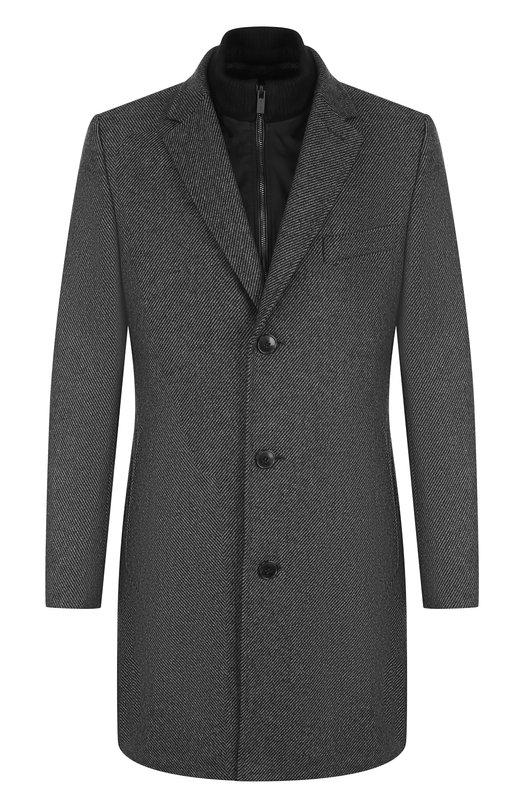 Купить Однобортное шерстяное пальто с подстежкой HUGO, 50395111, Польша, Темно-серый, Шерсть: 70%; Полиэстер: 20%; Полиамид: 10%;