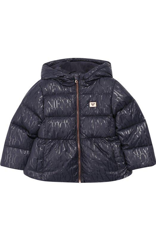 Купить Утепленная куртка на молнии с капюшоном Emporio Armani, 6ZEL01/4NGHZ, Китай, Синий, Полиамид: 100%; Подкладка-хлопок: 100%; Подкладка-полиамид: 100%;