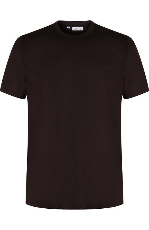 Купить Шелковая футболка с круглым вырезом Brioni, UJ7F0L/07608, Италия, Темно-коричневый, Шелк: 100%;
