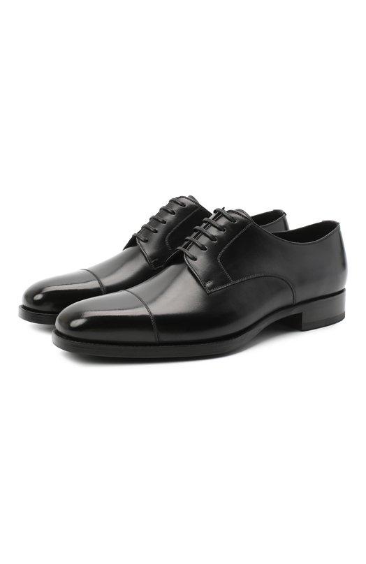 Купить Кожаные дерби на шнуровке Tom Ford, J1005G-ANU, Италия, Черный, Кожа: 97%; Подошва-резина: 70%; Подошва-кожа: 30%; Хлопок: 3%; Кожа натуральная: 100%; Подкладка-кожа: 100%;