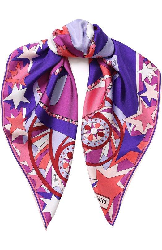 Шелковый платок с принтом Emilio Pucci, 8RGB61/8RP61, Италия, Сиреневый, Шелк: 100%;  - купить