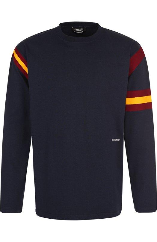 Купить Хлопковый пуловер с логотипом бренда CALVIN KLEIN 205W39NYC, 83MWTC54/C133, Италия, Синий, Хлопок: 100%;