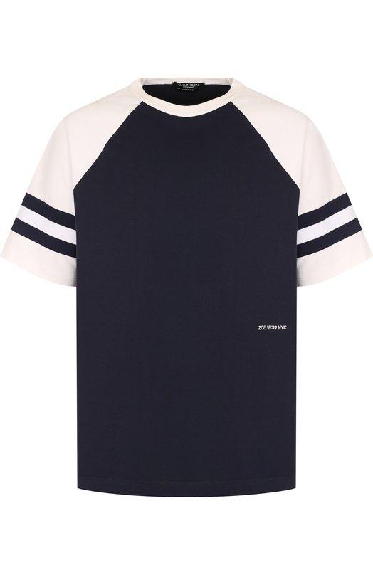 Купить Хлопковая футболка с логотипом бренда CALVIN KLEIN 205W39NYC, 83MWTC56/C133B, Италия, Синий, Хлопок: 100%;