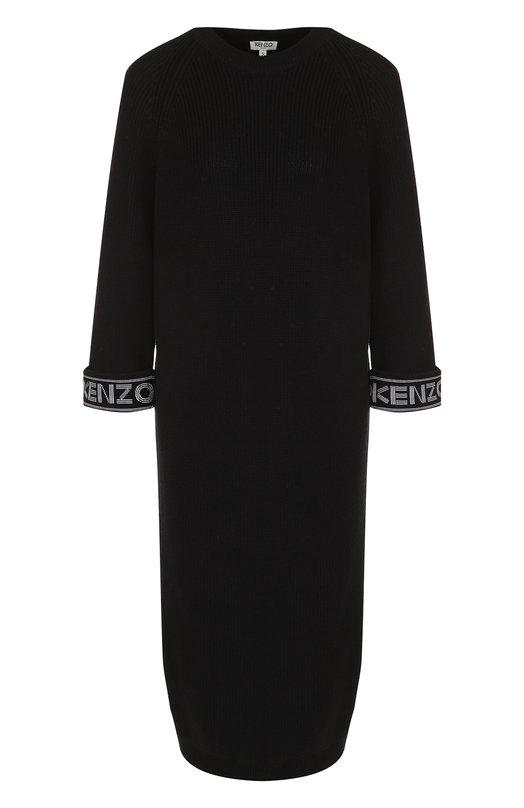 Купить Вязаное платье-миди из смеси хлопка и шерсти Kenzo, 2R0403814, Турция, Черный, Хлопок: 58%; Шерсть: 39%; Полиэстер: 1%; Вискоза: 1%; Полиамид: 1%;
