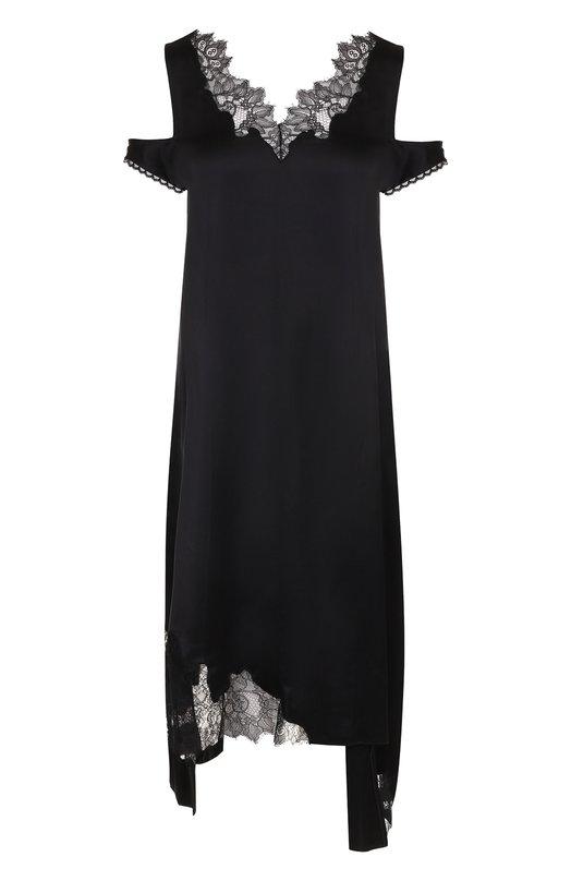 Купить Платье-миди асимметричного кроя с кружевной вставкой Helmut Lang, I05HW603, Китай, Черный, Вискоза: 100%;