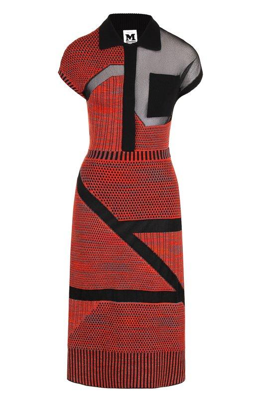 Купить Вязаное платье-миди с полупрозрачными вставками M Missoni, QD3KD28D2TD, Италия, Красный, Полиэстер: 9%; Вискоза: 48%; Полиамид: 43%;