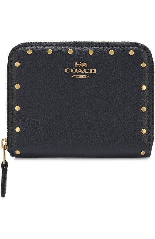 Купить Кожаный кошелек на молнии Coach, 31811, Филиппины, Темно-синий, Кожа натуральная: 100%;