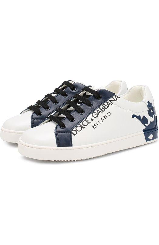 Купить Кожаные кеды на шнуровке Dolce & Gabbana, DA0608/AU613/29-36, Италия, Белый, Подошва-резина: 100%; Подкладка-кожа: 100%; Кожа: 100%;