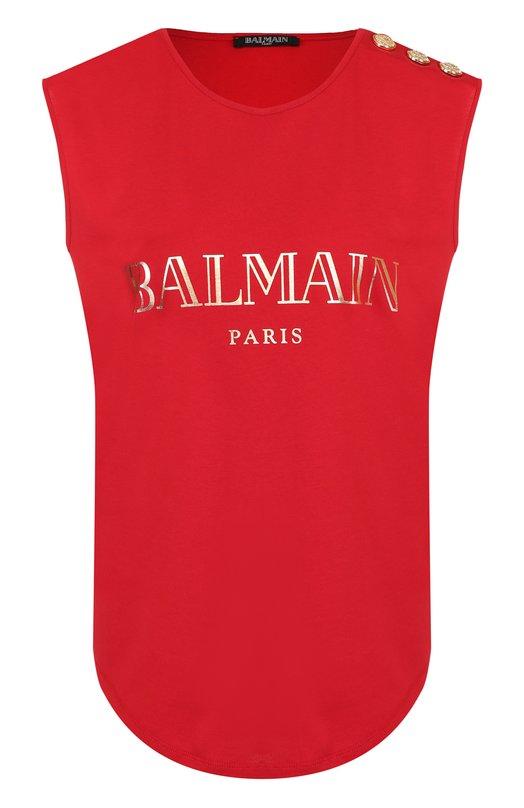Купить Хлопковый топ с логотипом бренда Balmain, 148100/326I, Португалия, Красный, Хлопок: 100%;