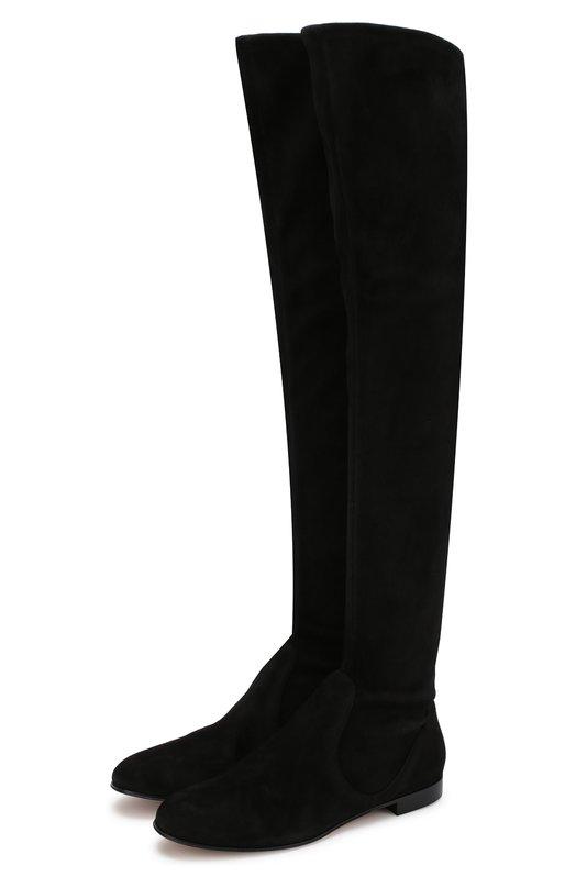 Купить Замшевые ботфорты на низком каблуке Gianvito Rossi, G80757.51CU0.CS4NENE, Италия, Черный, Подошва-кожа: 80%; Подкладка-текстиль: 80%; Подошва-резина: 20%; Подкладка-кожа: 20%; Кожа: 100%; кожа: 100%;