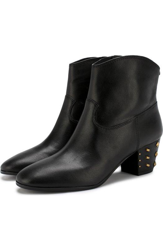 Купить Кожаные ботильоны Avery на декорированном каблуке MICHAEL Michael Kors, 40T8AVMB8L, Китай, Черный, Подошва-резина: 100%; Подкладка-кожа: 100%; Кожа: 100%;