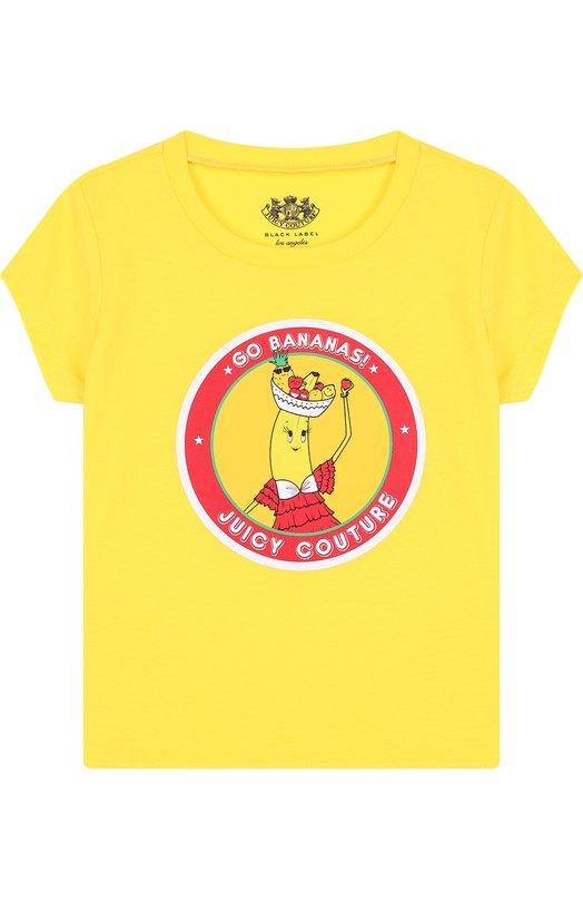 Купить GFKT115837, Хлопковая футболка с принтом Juicy Couture, Вьетнам, Желтый, Хлопок: 60%; Полиэстер: 40%;, Женский, Футболки