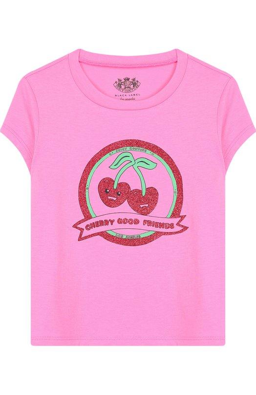 Купить GFKT115838, Хлопковая футболка с принтом Juicy Couture, Вьетнам, Розовый, Хлопок: 60%; Полиэстер: 40%;, Женский, Футболки