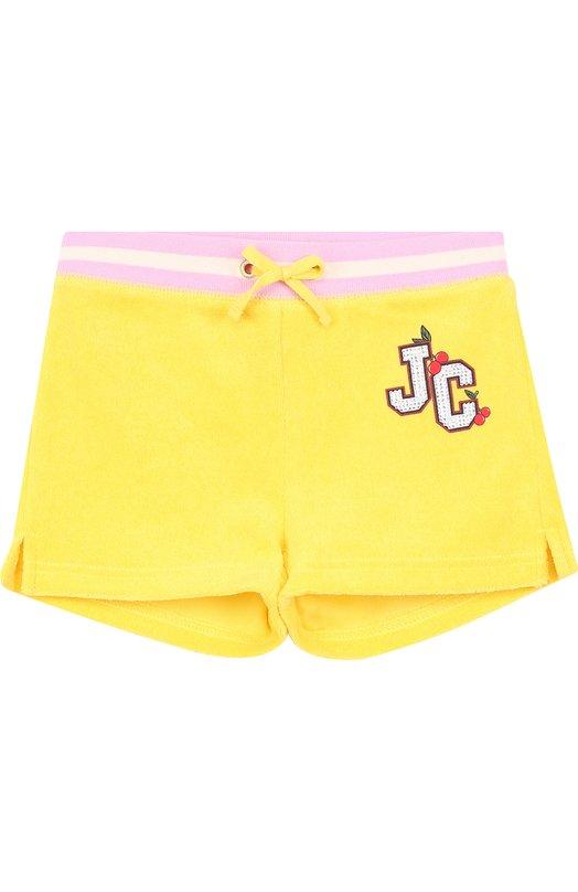 Купить Хлопковые шорты с поясом на кулиске Juicy Couture, GTKB115828, Вьетнам, Желтый, Хлопок: 80%; Полиэстер: 20%;