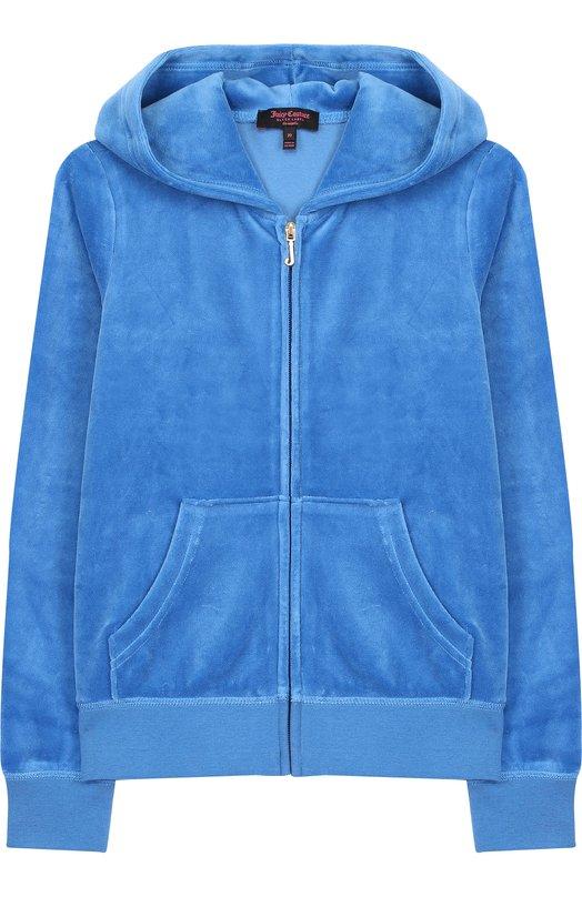 Купить Хлопковый кардиган на молнии с капюшоном и принтом на спине Juicy Couture, GTKJ131896, Вьетнам, Голубой, Хлопок: 78%; Полиэстер: 22%;