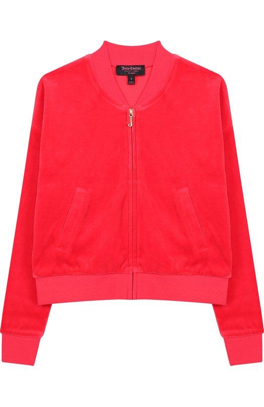 Купить Хлопковый кардиган на молнии с принтом на спине Juicy Couture, GTKJ131900, Вьетнам, Красный, Хлопок: 78%; Полиэстер: 22%;