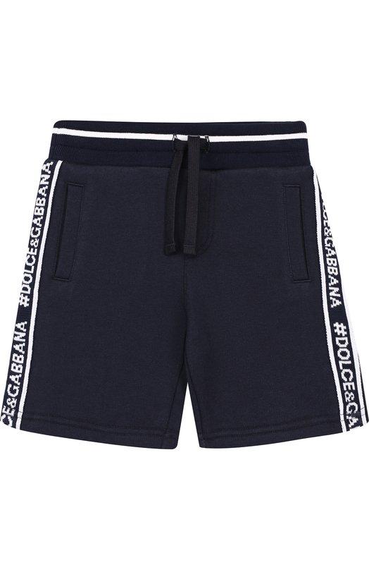Купить Хлопковые шорты с лампасами и поясам на кулиске Dolce & Gabbana, L4JQD4/G70VY/2-6, Италия, Темно-синий, Хлопок: 100%;