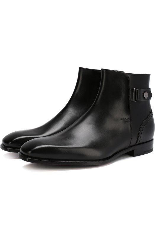 Купить Кожаные сапоги с ремешком Zegna Couture, A3086X-EVE, Италия, Черный, Подошва-кожа: 70%; Подошва-резина: 30%; Подкладка-кожа: 100%; Кожа: 100%;