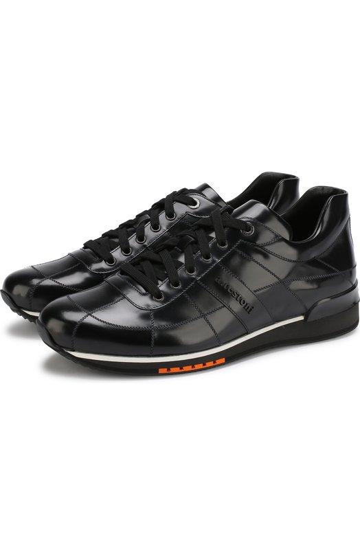 Купить Кожаные кроссовки на шнуровке A. Testoni, M70399SCRM/98151RMF, Италия, Синий, Подошва-резина: 100%; Подкладка-кожа: 100%; Кожа: 100%;