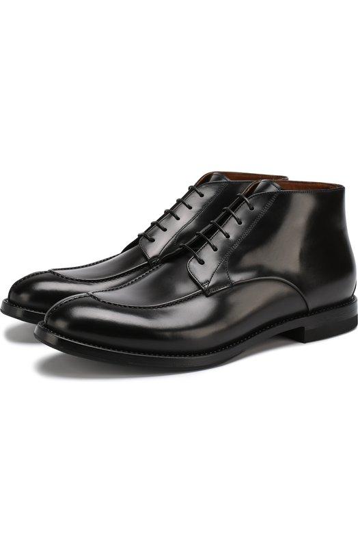 Купить Кожаные ботинки на шнуровке W.Gibbs, 0337040/BATISFERA, Италия, Черный, Подошва-Кожа: 80%; Подошва-Резина: 20%; Подкладка-Кожа: 100%; Кожа: 100%;