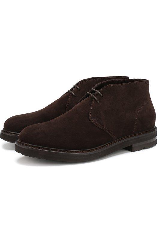 Купить Замшевые ботинки с внутренней отделкой из овчины H`D`S`N Baracco, 58502.2*, Италия, Коричневый, Подошва-кожа: 51%; Подошва-резина: 49%; Подкладка-мех/овчина/: 100%; Кожа: 100%;