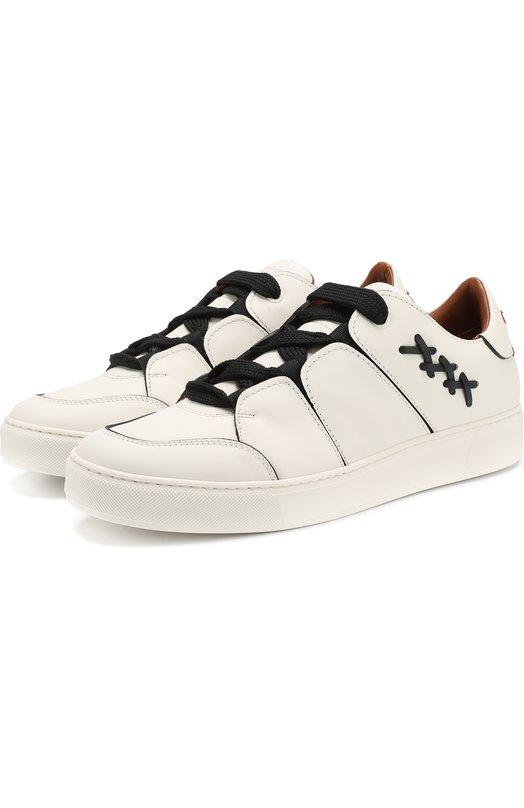 Купить Кожаные кеды на шнуровке Zegna Couture, A4005X-SWY, Италия, Белый, Подошва-резина: 90%; Подкладка-кожа: 100%; Кожа: 100%; Подошва-кожа: 10%;