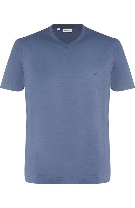 Купить Хлопковая футболка с V-образным вырезом Brioni, UJ7A0L/PZ600, Италия, Синий, Хлопок: 100%;