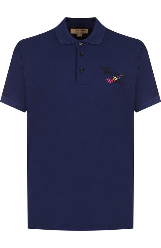 Купить Хлопковое поло с короткими рукавами Burberry, 8001219, Португалия, Темно-синий, Хлопок: 100%;
