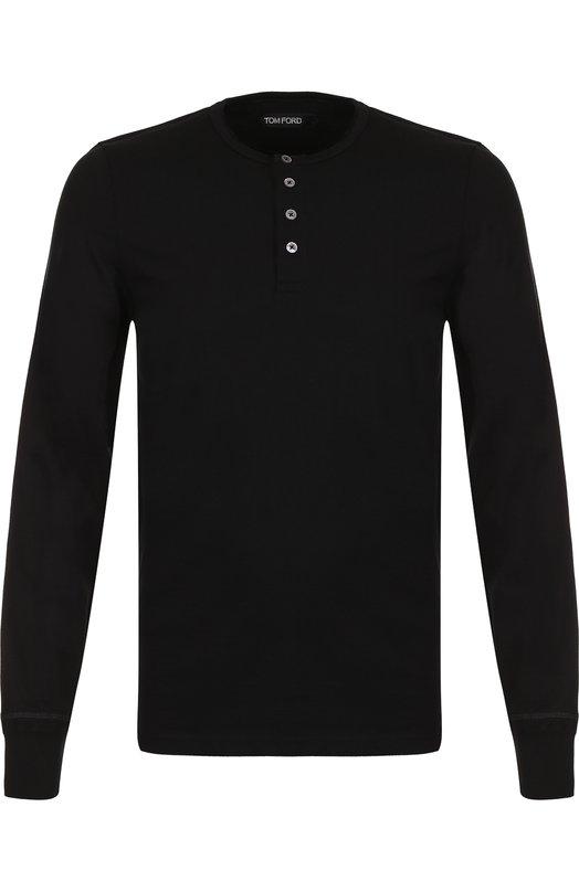 Купить Хлопковая футболка-хенли с длинными рукавами Tom Ford, BR402/TFJ890, Италия, Черный, Хлопок: 100%;