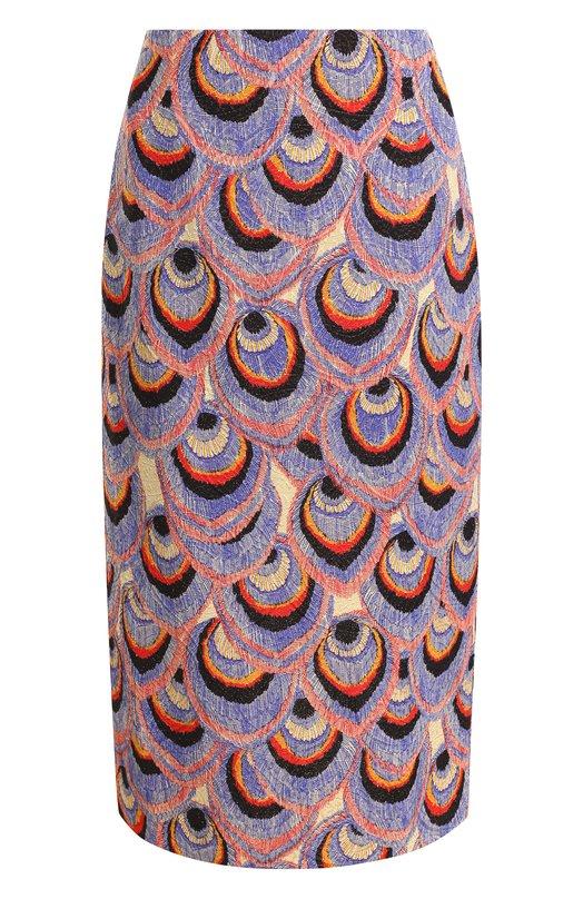 Купить Юбка-миди из смеси хлопка и вискозы с принтом Dries Van Noten, 182-30817-6014, Болгария, Синий, Вискоза: 52%; Хлопок: 43%; Полиэстер: 3%; Полиамид: 2%;