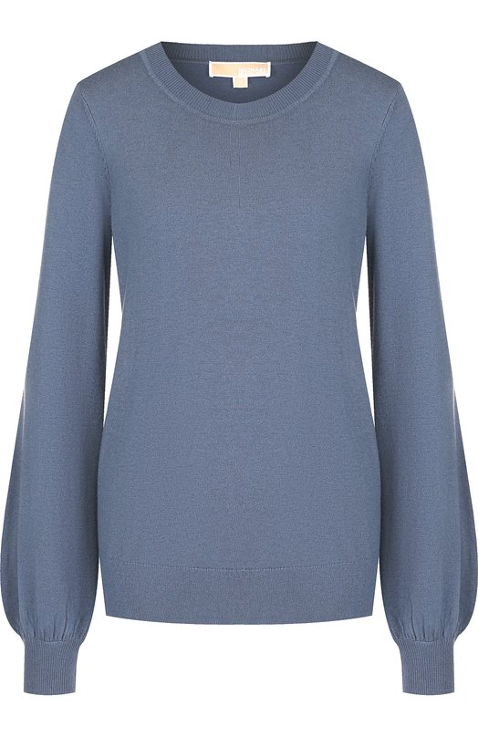 Купить Однотонный пуловер с круглым вырезом MICHAEL Michael Kors, MU86NP60WP, Китай, Голубой, Кашемир: 5%; Вискоза: 40%; Полиамид: 30%; Полиэстер: 25%;