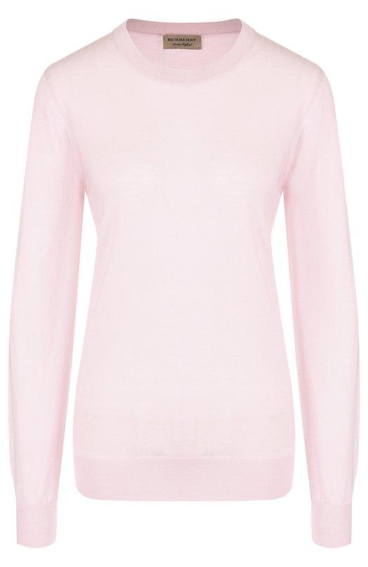 Однотонный шерстяной пуловер с круглым вырезом Burberry, Burberry