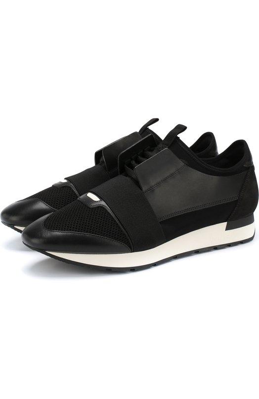 Купить Комбинированные кроссовки Race на шнуровке Balenciaga, 535391/W0YXS, Италия, Черный, Полиамид: 80%; Кожа: 60%; Текстиль: 40%; Подкладка-кожа: 100%; Подкладка-текстиль: 100%; Подошва-резина: 100%;