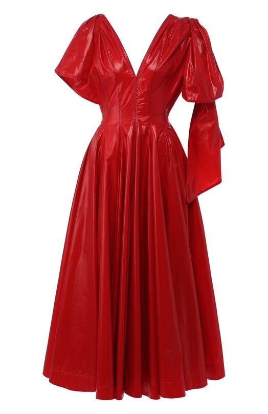 Купить Приталенное платье-миди с V-образным вырезом CALVIN KLEIN 205W39NYC, 82WWDC96/P076, Италия, Красный, Полиамид: 100%;