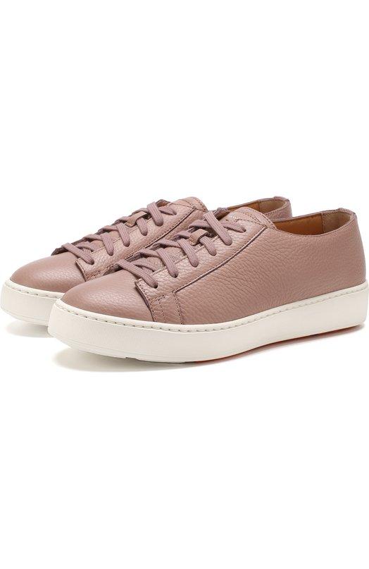 Купить Кожаные кеды на шнуровке Santoni, WBCE60442BA6LAYLP45, Италия, Светло-розовый, Подошва-резина: 100%; Подкладка-кожа: 100%; Кожа: 100%;