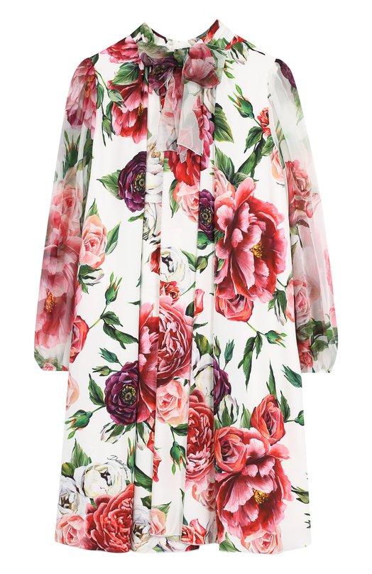 Купить Платье свободного кроя из смеси вискозы и шелка с бантом Dolce & Gabbana, L59D78/LA286/8-14, Венгрия, Разноцветный, Вискоза: 68%; Шелк: 30%; Эластан: 2%;