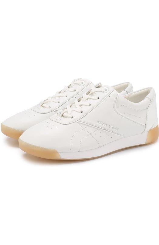 Купить Кожаные кеды Addie на шнуровке MICHAEL Michael Kors, 43T8AEFS2L, Вьетнам, Белый, Подошва-резина: 100%; Подкладка-текстиль: 100%; Кожа: 100%;