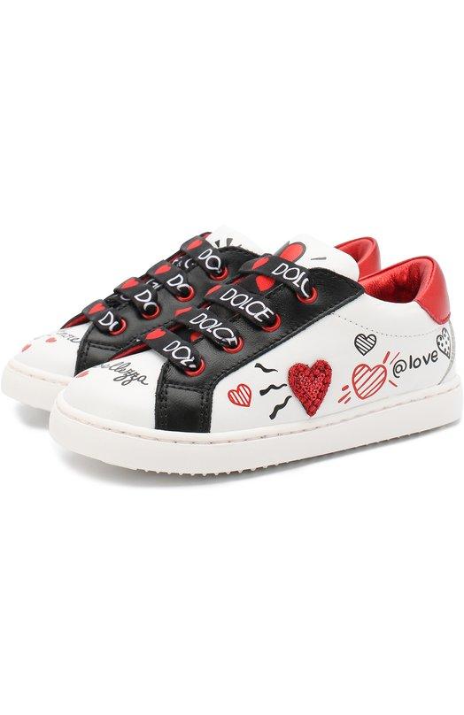 Купить Кожаные кеды на шнуровке Dolce & Gabbana, DN0109/AV526/19-28, Италия, Белый, Подошва-резина: 100%; Подкладка-кожа: 100%; Кожа: 100%;