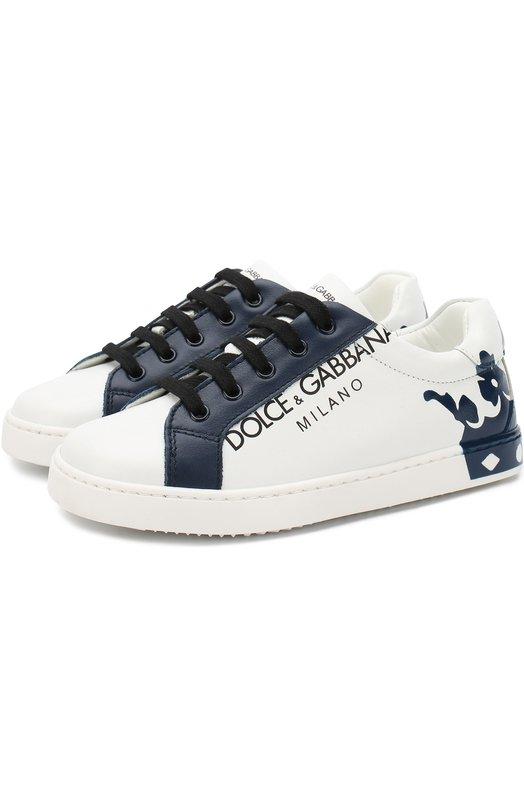 Купить Кожаные кеды на шнуровке Dolce & Gabbana, DA0608/AU613/24-28, Италия, Белый, Подошва-резина: 100%; Подкладка-кожа: 100%; Кожа: 100%;