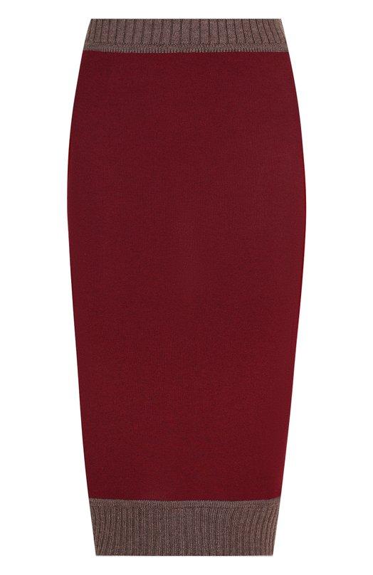 Купить Вязаная юбка-миди из смеси шерсти и хлопка Victoria Beckham, SK KNT 3501 PAW18 FINE RIB W TRIM, Италия, Бордовый, Шерсть: 43%; Хлопок: 31%; Вискоза: 25%; Полиамид: 1%;
