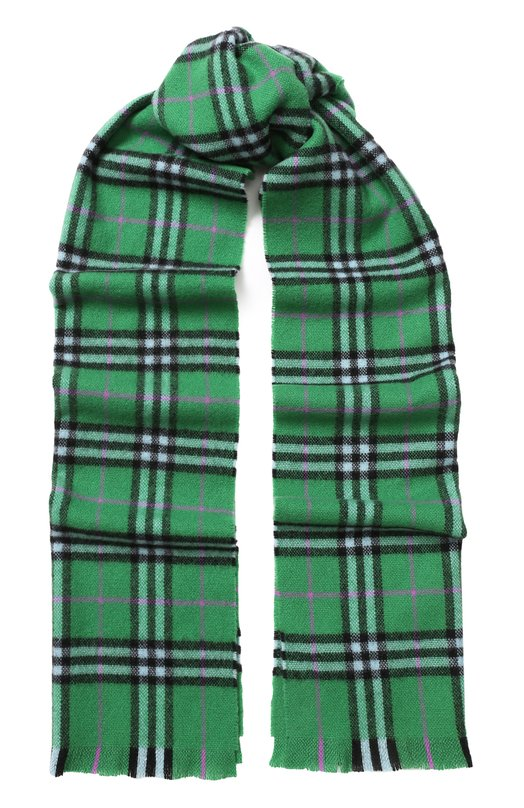 Купить Кашемировый шарф в клетку с бахромой Burberry, 4075207, Великобритания, Зеленый, Кашемир: 100%;
