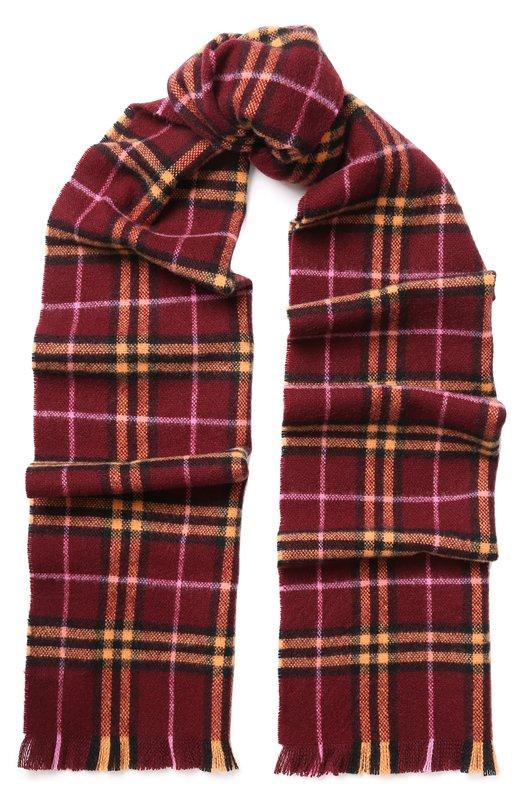Купить Кашемировый шарф в клетку с бахромой Burberry, 4075208, Великобритания, Бордовый, Кашемир: 100%;